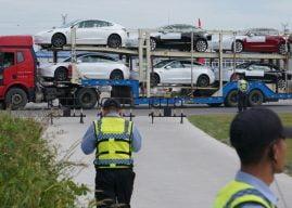 Tesla Model 3 made in China arriveert in Zeebrugge